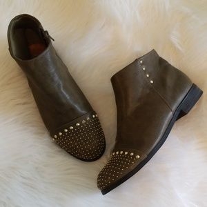 C Label olive green studded booties 9